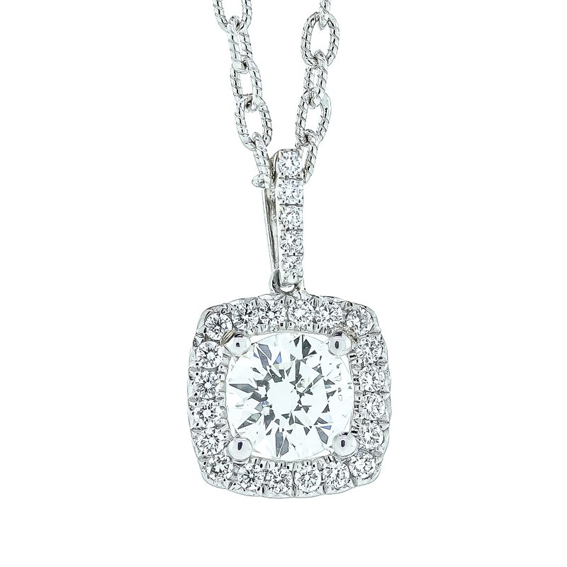 """Iroff and Son Jewelers  14K White Gold 18"""" Chain with Round Diamond Cushion Halo Pendant"""