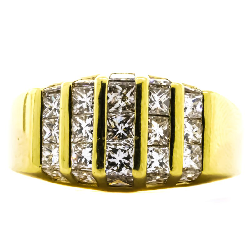 Estate Jewelry 18K Gold Princess Diamond Domed Channel Wide Ring