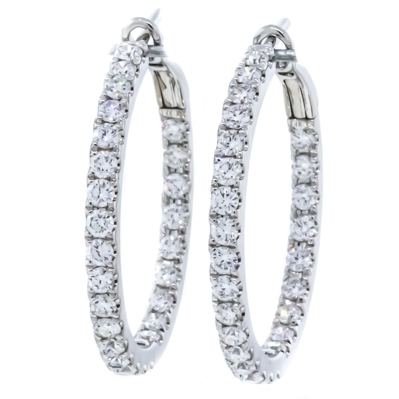 Iroff and Son Jewelers  14K White Gold Inside Outside Diamond Hoop Earrings
