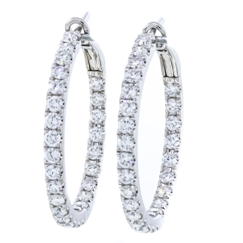 Iroff and Son Jewelers  14K White Gold Inside Outside Diamond Hoop Earrings