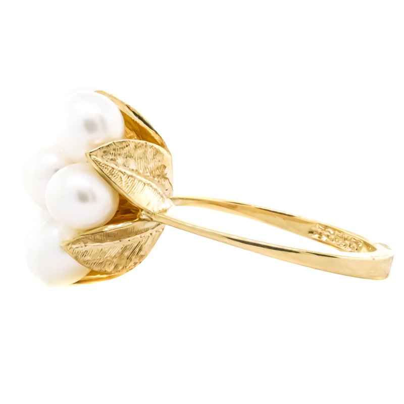 Estate Jewelry 14K Gold Freshwater Pearl Floral Cluster Ring