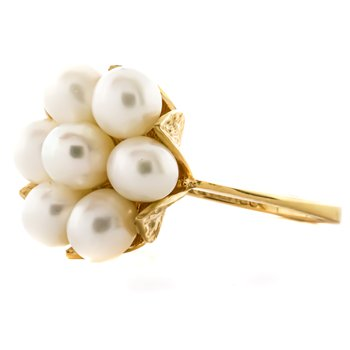14K Gold Freshwater Pearl Floral Cluster Ring