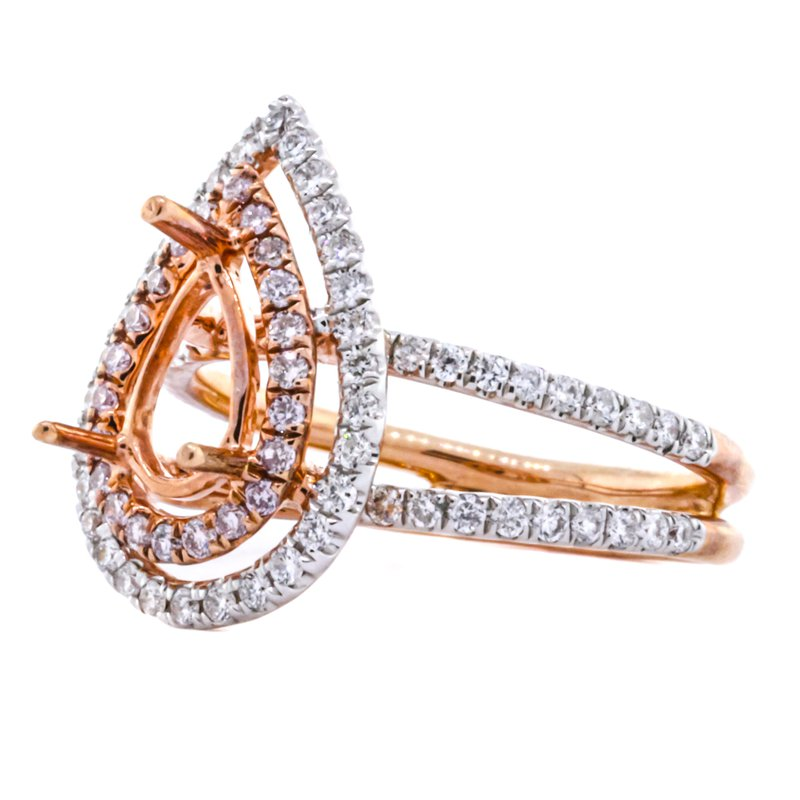 18K Rose Gold Double Halo Split Shank Pear Engagement Ring