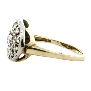 14K Two Tone Gold Oval East West Diamond Princess Ring
