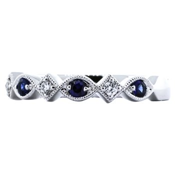 14K White Gold Sapphire and Diamond Antique Milgrain Band