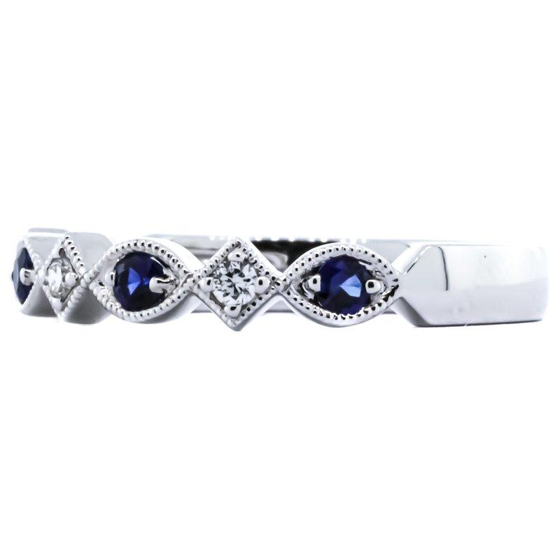 Allison-Kaufman 14K White Gold Sapphire and Diamond Antique Milgrain Band