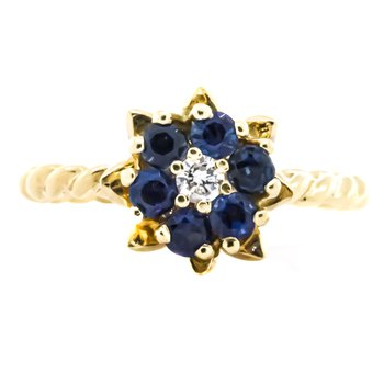 14K Gold Twisted Band Sapphire and Diamond Tulip Ring