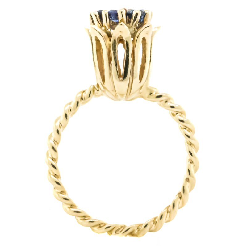 Iroff and Son Jewelers  14K Gold Twisted Band Sapphire and Diamond Tulip Ring