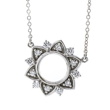 14K White Gold Open Circle Flat Star Diamond Pendant