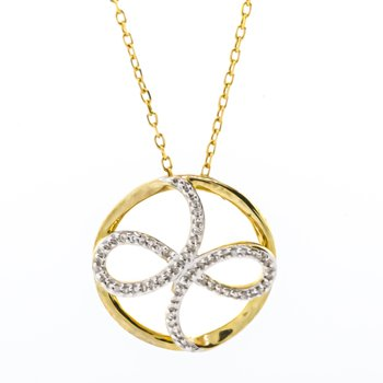 10K Gold Circle Infinity Diamond Necklace 18""