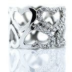 Iroff and Son Jewelers  14K White Gold Open Heart Double Row Wide Diamond Fashion Ring SZ 6.5