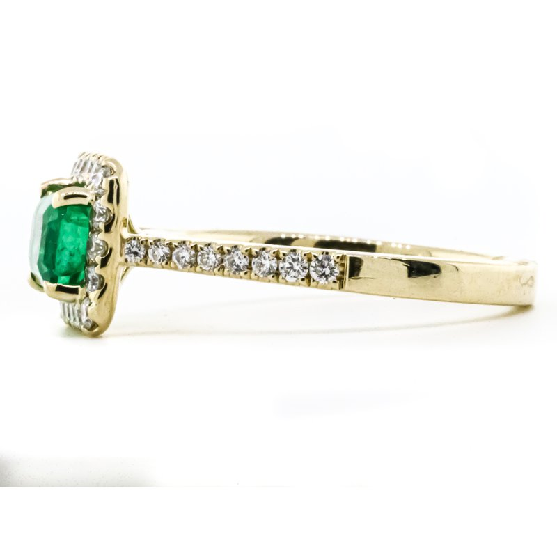 Iroff and Son Jewelers  14K Yellow Gold Emerald Center Diamond Halo and Band Ring SZ 6