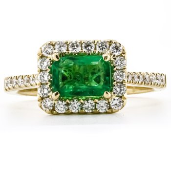 14K Yellow Gold Emerald Center Diamond Halo and Band Ring SZ 6