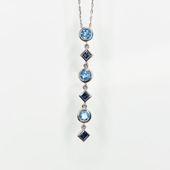"""14K White gold 18"""" Gucci Chain Swiss Blue Topaz and Sapphire Multi-Shape Necklace"""