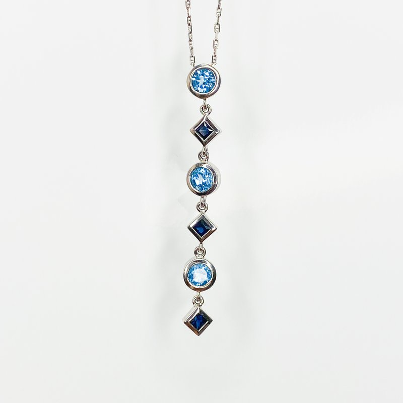 """Iroff and Son Jewelers  14K White gold 18"""" Gucci Chain Swiss Blue Topaz and Sapphire Multi-Shape Necklace"""