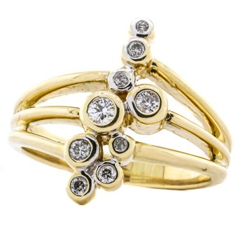 14K Yellow Gold Split Shank Bezel Diamond Bubble Statement Ring SZ 8.5