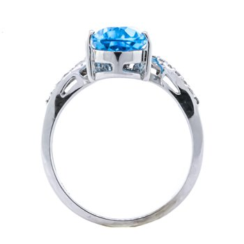 10K White Gold Blue Topaz Pear and Diamond Chevron Ring
