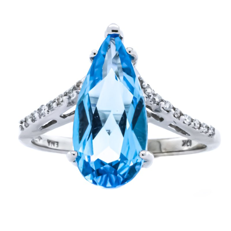 Iroff and Son Jewelers  10K White Gold Blue Topaz Pear and Diamond Chevron Ring