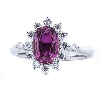 18K White Gold Pink Sapphire Starburst Diamond Halo Ring SZ 6.5