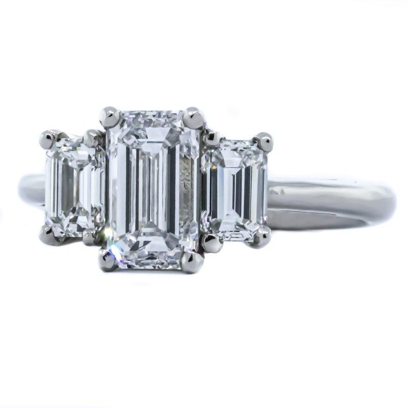 Iroff and Son Jewelers  Platinum Three Stone Emerald Diamond Ring