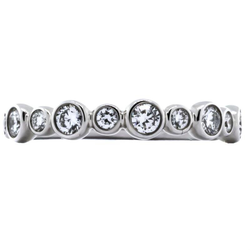 Iroff and Son Jewelers  14K White Gold Alternating Large and Small Diamond Bezel Set Circle Ring
