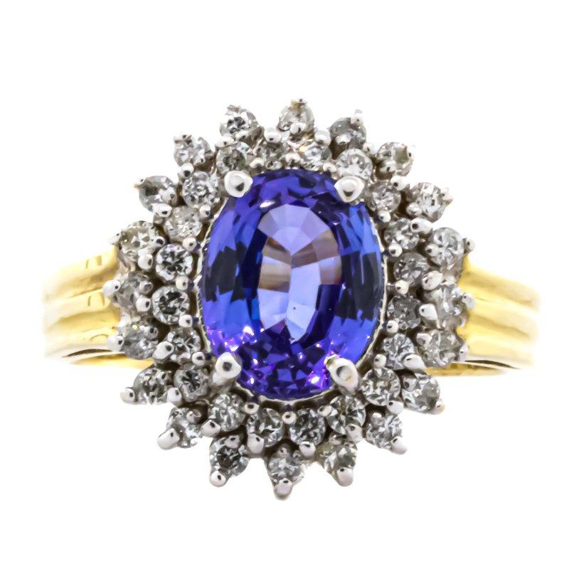 Estate Jewelry 14K Two Tone Gold Diamond Halo Tanzanite Center Starburst Ring