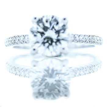 18K White Gold GIA 2.18CTW Round Solitaire Engagement Ring SZ 6.5
