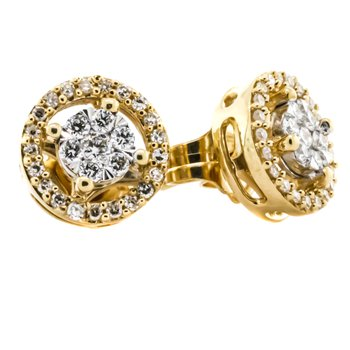 14K Gold Diamond Halo Stud Earrings