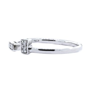10K White Gold Diamond Open Bar Ring