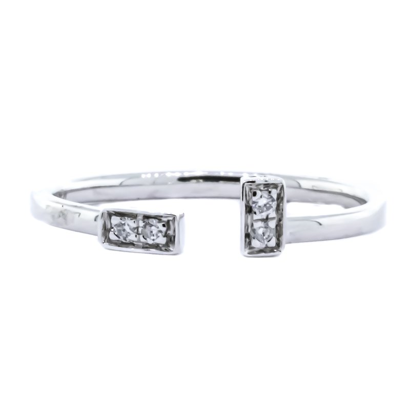 Iroff and Son Jewelers  10K White Gold Diamond Open Bar Ring