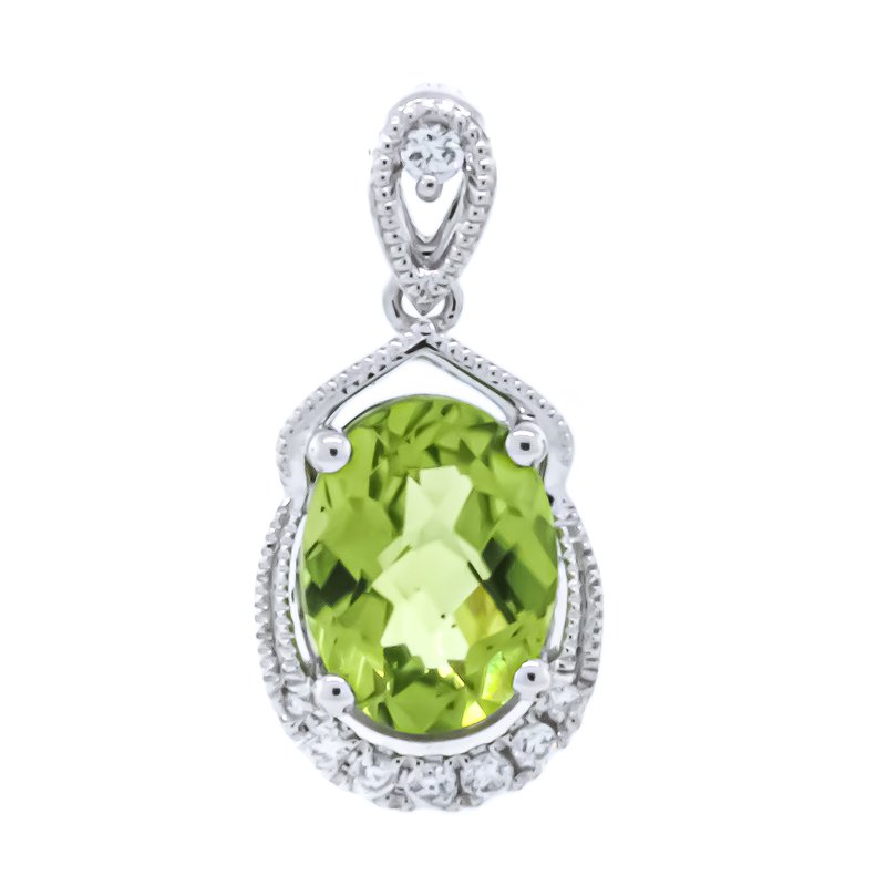 Iroff and Son Jewelers  14K White Gold Oval Peridot With Diamond Milgrain Accent Pendant