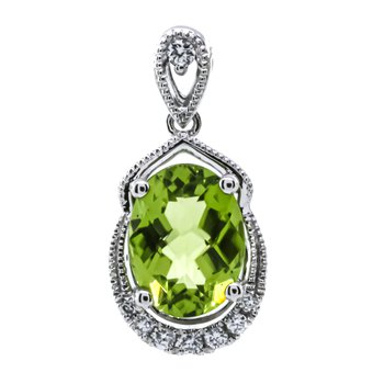 14K White Gold Oval Peridot With Diamond Milgrain Accent Pendant