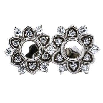 14K White Gold Star Burst Stud Diamond Earrings