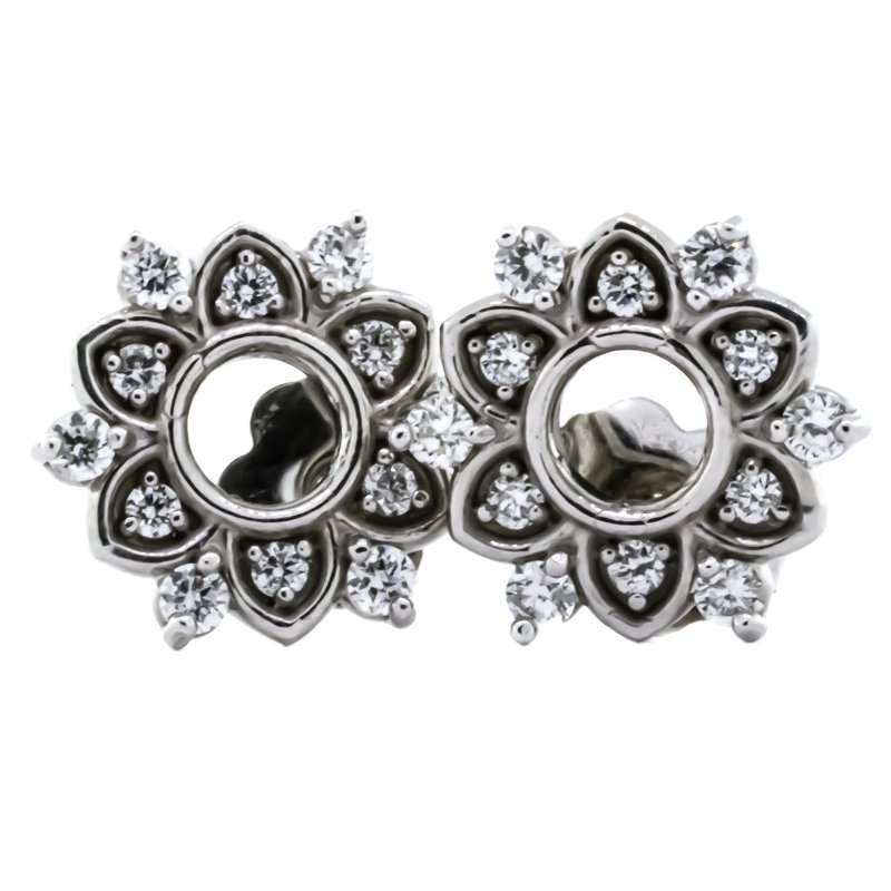 Iroff and Son Jewelers  14K White Gold Star Burst Stud Diamond Earrings