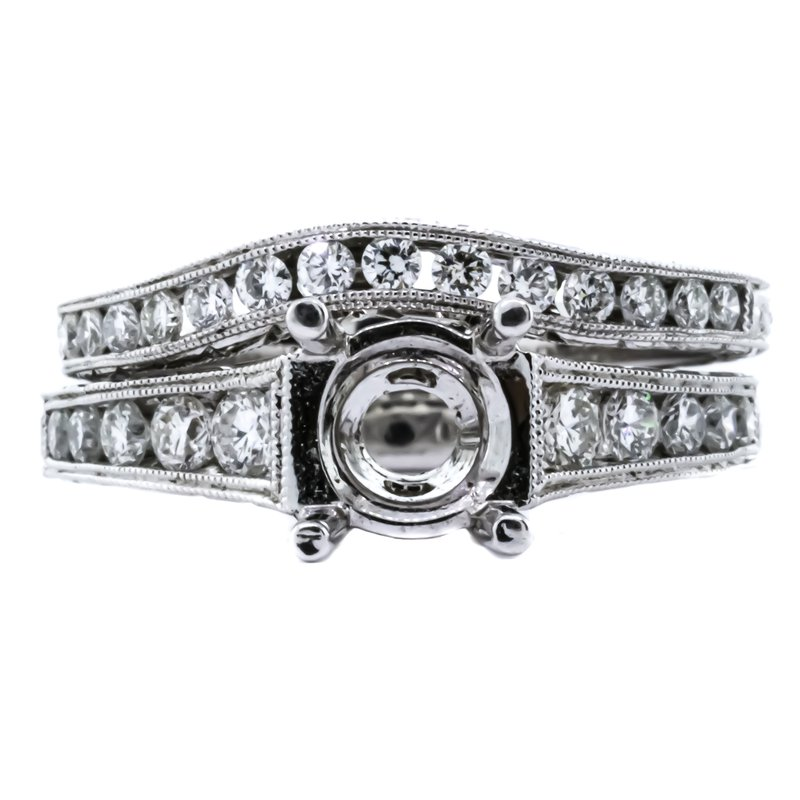 Iroff and Son Jewelers  14K White Gold Milgrain Diamond Semi Mount and Curved Band Set