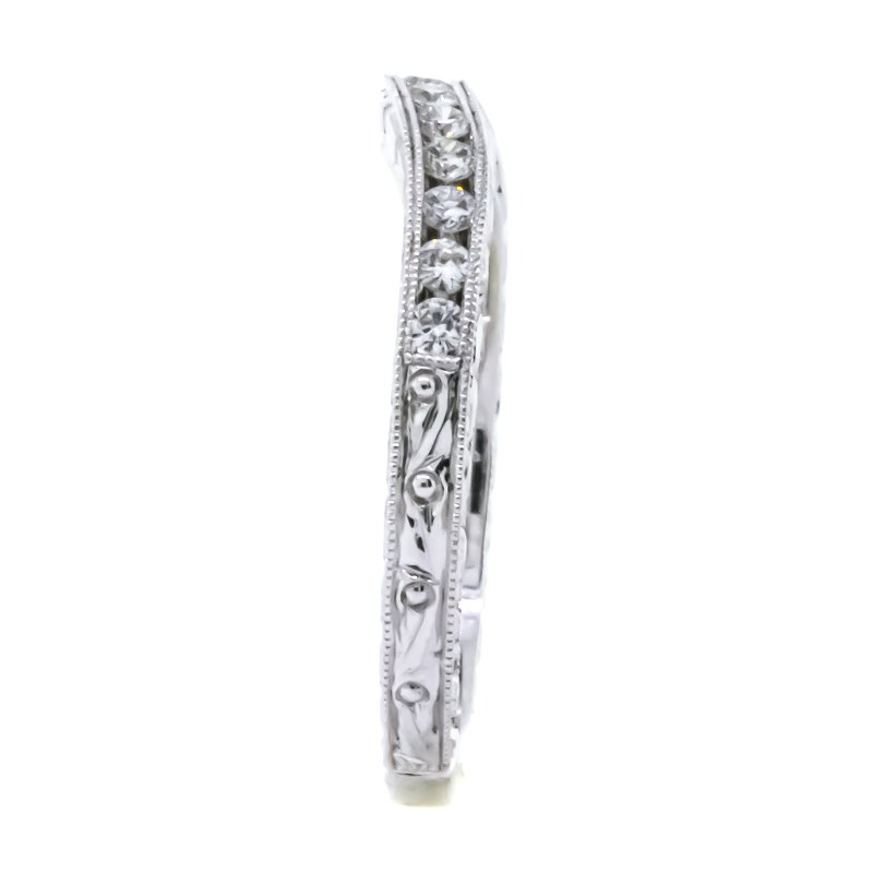 14K White Gold Milgrain Diamond Semi Mount and Curved Band Set