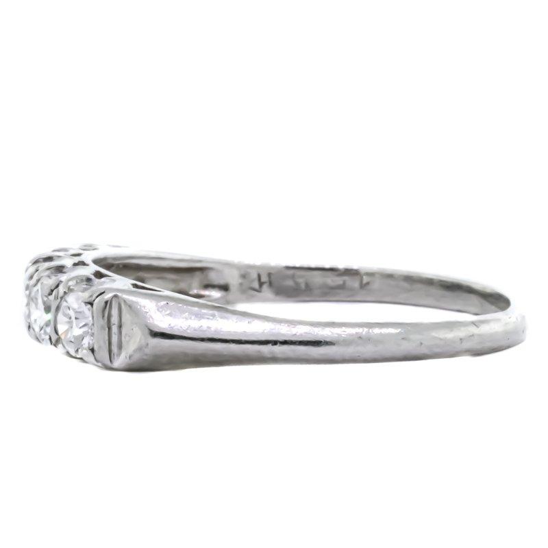 Estate Jewelry Platinum 5 Round Diamond Anniversary Band