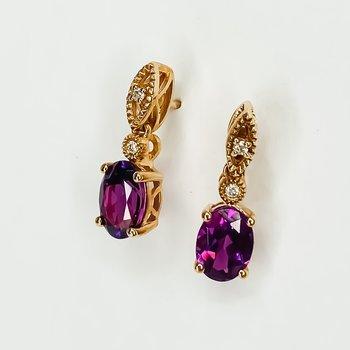 10K Rose Gold Oval Rhodalite Garnet Diamond Drop Earrings
