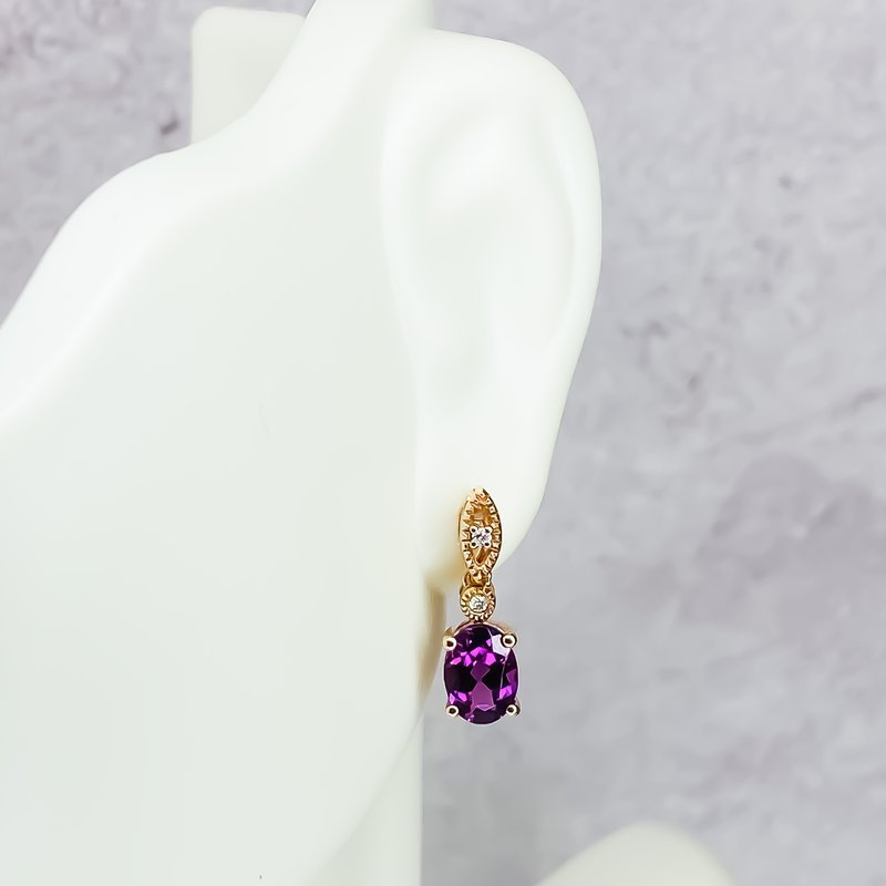 Iroff and Son Jewelers  10K Rose Gold Oval Rhodalite Garnet Diamond Drop Earrings