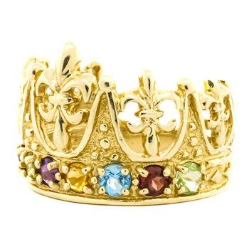 14K Gold Multi Gemstone Crown Cocktail Ring