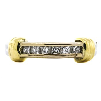 Platinum and 18K Gold Princess Cut Diamond Band