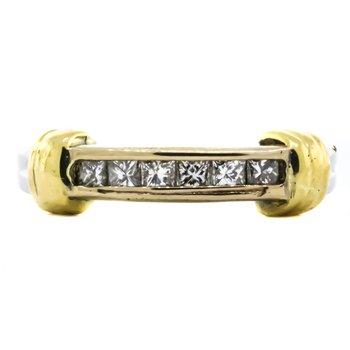 Platinum and 18K Gold Princess Cut Diamond Band