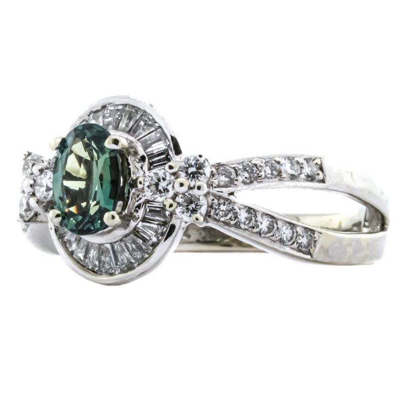 Estate Jewelry 18K White Gold IGI Alexandrite Oval Diamond Halo Twisted Band Ring