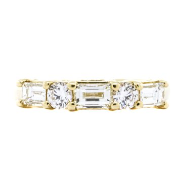 14K Gold Baguette and Round 5 Diamond Anniversary Band