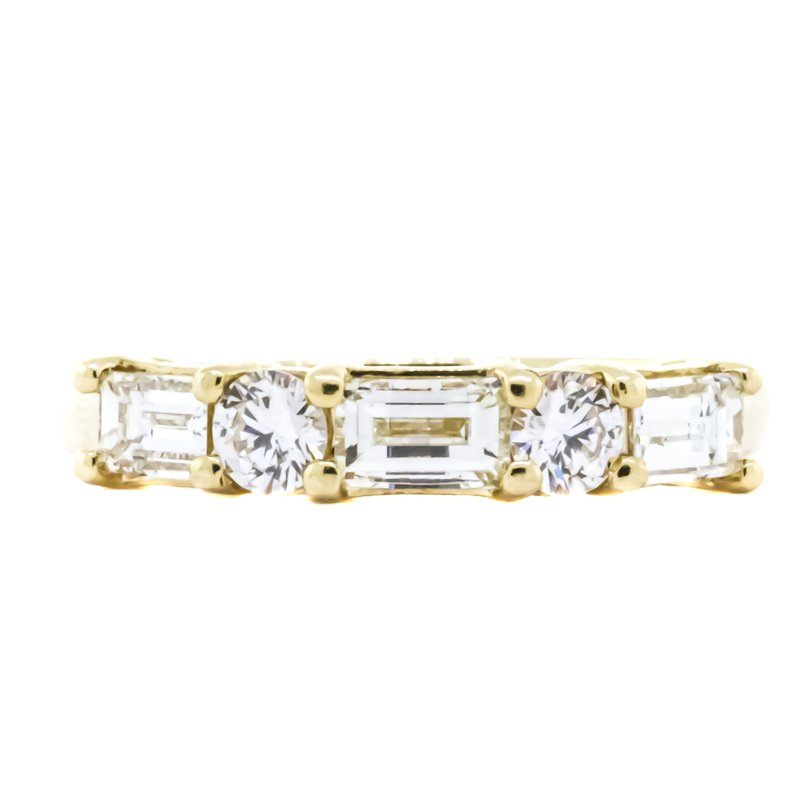 Estate Jewelry 14K Gold Baguette and Round 5 Diamond Anniversary Band