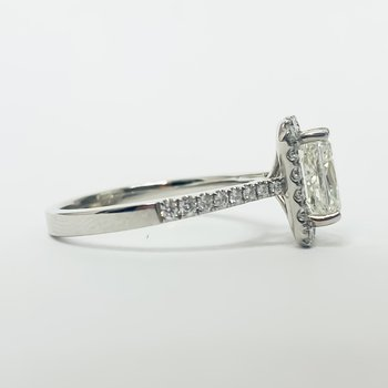 14K White Gold Radiant Center Diamond Halo Engagement Ring GIA
