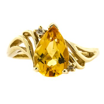 14K Gold Pear Citrine Center Split Shank Ring