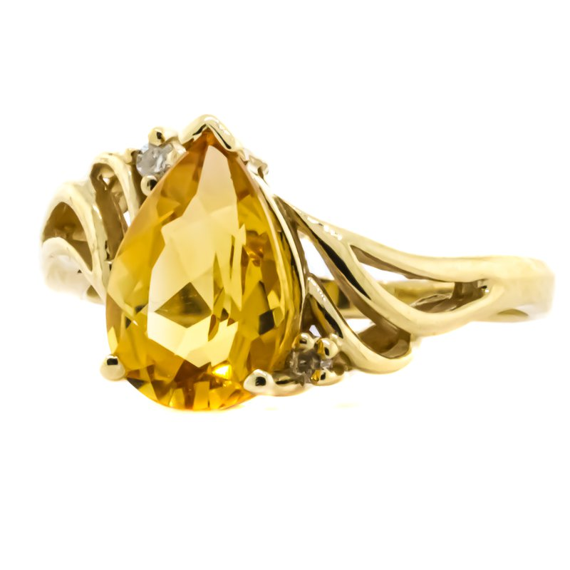 Estate Jewelry 14K Gold Pear Citrine Center Split Shank Ring