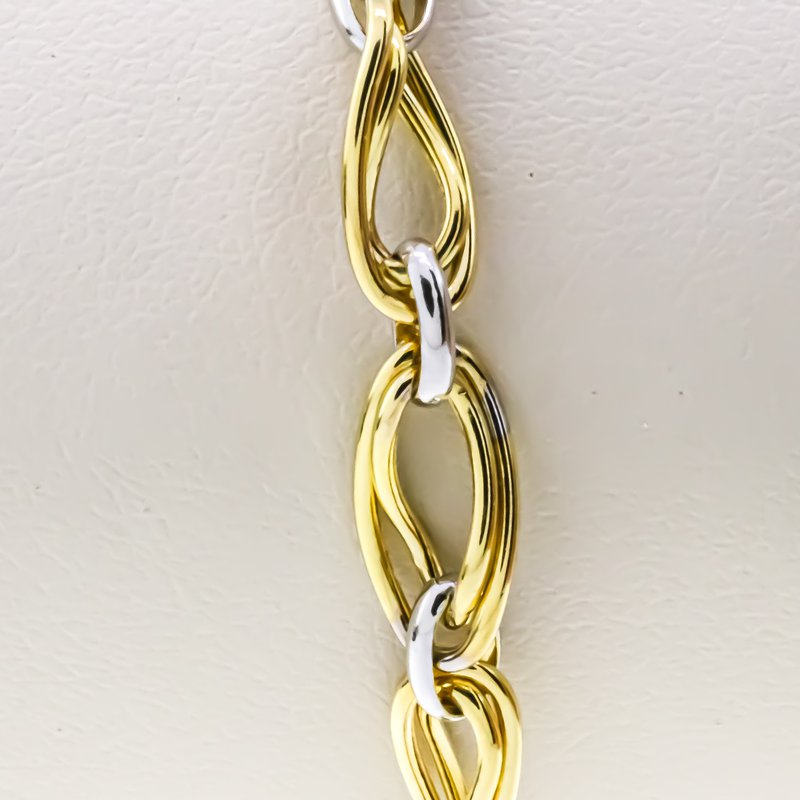 """Iroff and Son Jewelers  14K White and Yellow Gold Wavy Oval Link 7.5"""" Bracelet"""