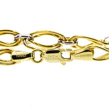 """14K White and Yellow Gold Wavy Oval Link 7.5"""" Bracelet"""